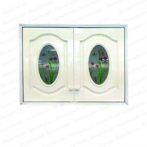 """ตู้แขวนผนังคู่ (เกล็ดแก้ว/ลายดอก) สีขาว """"PEOPLE"""""""