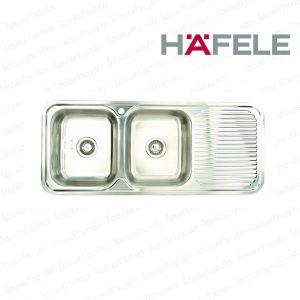 """อ่างล้างจาน 567.20.012 (2หลุม-มีที่พักจานขวา) """"HAFELE"""""""