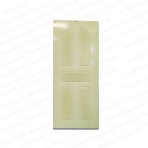 """ประตูไม้ 80*200ซม. #D.03/น้ำตาล ลายแกรนิต """"ช้าง-ดอกบัว"""" (ภายนอก)"""