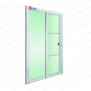 ประตูบานเลื่อน (ALU) 180*210 ซม.(รวมขอบ) สีอบขาว กระจกเขียวใส (2บาน) ESTATE